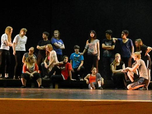 The ensemble during one of their rehearsals. (Photo courtesy of MTHS drama teacher/advisor Jeannie Brzonic)