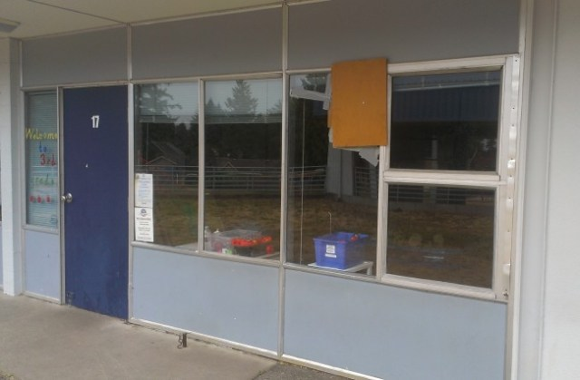 One of several windows broken over the past several weeks at Mountlake Terrace Elementary School