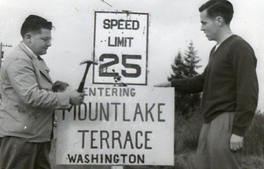 Gil Geiser, Mountlake Terrace's first mayor, with Patrick McMahan, who pushed for incorporation and later served on the city council.