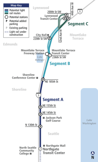 Lynnwood Link Light Rail alignment options and the razed Melody Hill location.