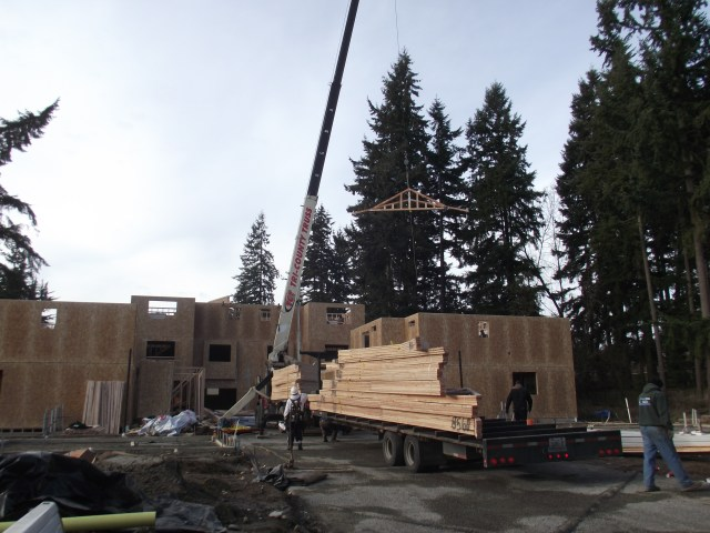 Ceiling trusses were lifted into place last week at the Mountlake Townhomes development, 23408 and 23410-54th Ave. W. A total of 12 town homes are being built. No scheduled completion date has been announced, although the units are expected to go on the market in 2014.