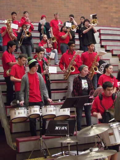 The high school's pep band played at the game.