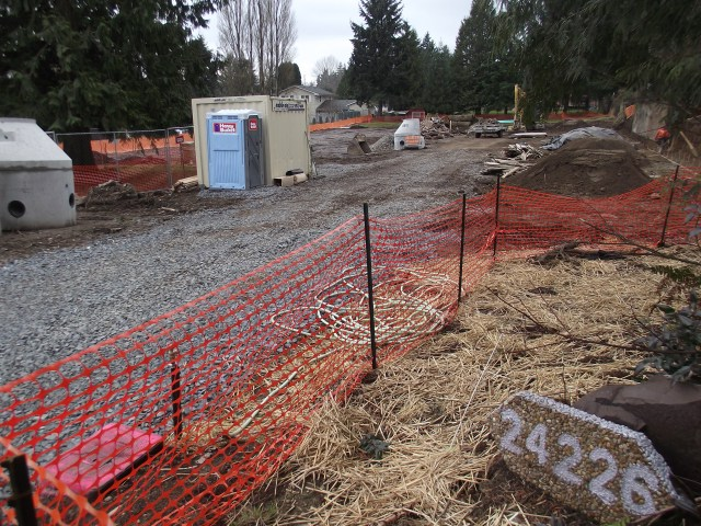 This lot is being prepared for construction of a nine-home cottage development in the 24200 block of 52nd Avenue West.