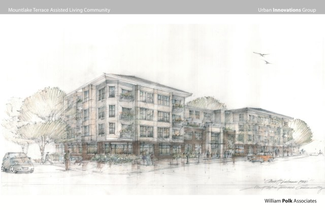What the building will look like from the outside and the first- floor floor plan.