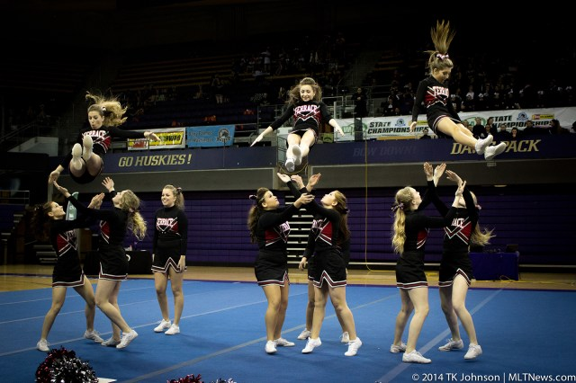 MTHS cheer squad members competing at state Saturday. (Photos by TK Johnson)