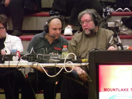 Steve Willits and Vince DeMiero hard at work on a Sound Live Sports Network broadcast.