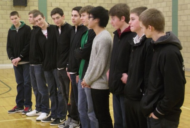 The Cedar Park Christian School - Mountlake Terrace boys basketball team is honored at a morning assembly on Wednesday just before they take off for the WIAA 1B Boys Basketball Tournament in Spokane.