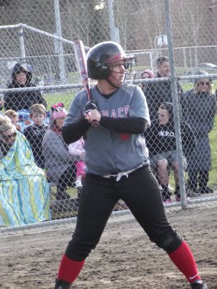 Hannah Wilcox, shown here against Marysville-Pilchuck last week, had a home run in the Hawks' loss to Edmonds-Woodway Monday.