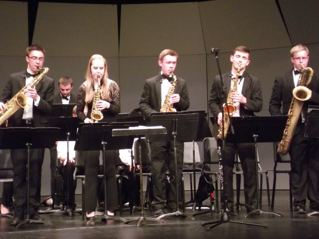 The saxophone section of MTHS Jazz 1.