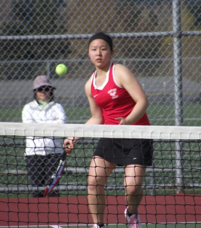No. 2 singles player Tina Liu from a match earlier this season. (Photo by Doug Petrowski)