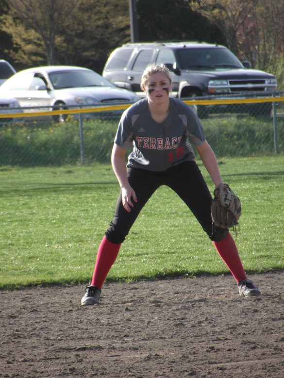 Join Maddy Kristjanson and the rest of the Mountlake Terrace High School softball team as they host Shorecrest in 3A league action Tuesday. The game will be broadcast on the Sound Live Sports Network. First pitch is at 4 p.m. (Photo by Doug Petrowski)