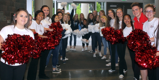 The Mountlake Terrace and Meadowdale cheer squad gave a warm welcome to athletes, coaches and parents. Edmonds School District students, teachers and coaches volunteered at the event.