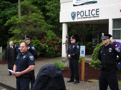 Chief Greg Wilson speaking at last year's Mountlake Terrace Police Department open house and color guard.