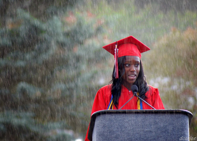 Barbara Biney was one of three student speakers caught in the downpour.