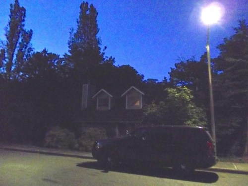 The suspect's home in Mountlake Terrace Thursday night.
