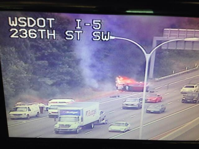 Photo of the accident, from the Washington State Department of Transportation camera at 236th Street Southwest.