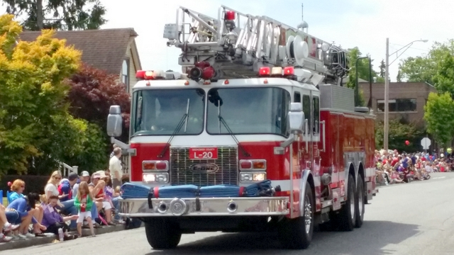 A Snohomish County Fire District 1 fire truck drove in the parade.