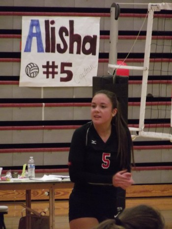Hawk Alisha Clingan was one of eight seniors to play their final volleyball match for Mountlake Terrace High School on Wednesday. (Photos by Doug Petrowski)