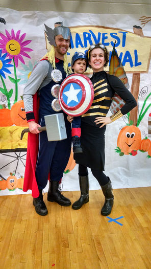 Duct tape, file folders and a carryout salad container were among the raw materials repurposed into this Avengers family ensemble, submitted by Mountlake Terrace's Mikayla Patella-Buckley. (Photo   courtesy of Mikayla Patella-Buckley)