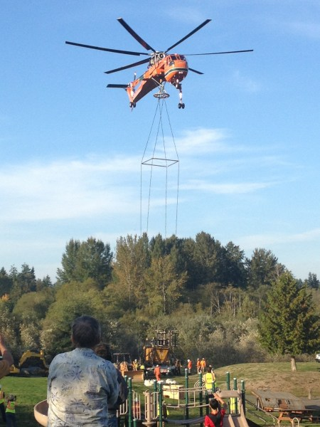For those asking about the helicopter noise this afternoon, we have an answer: A helicopter contractor working for PUD is replacing wooden poles that run through the wetlands of Brierwood Park. Brier Mayor Bob Colinas sent us this photo.
