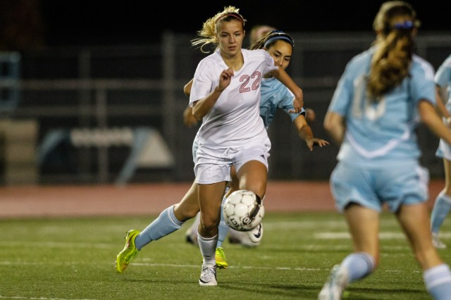 Mountlake Terrace's Lily Hart controls the ball against Meadowdale.
