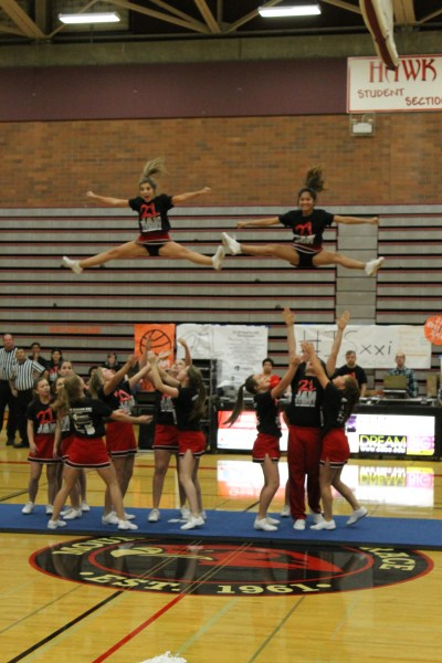 The Mountlake Terrace High School cheer squad performs for the crowd.