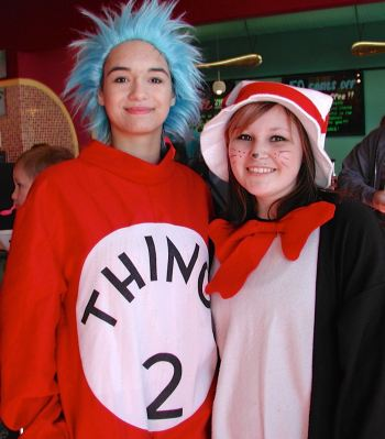 "Thing 2 and Cat in the Hat (officially Meadowdale High School juniors Felicia Bryan and Brianna Meyer, both of Lynnwood) were available for ""celebrity"" photos at Revelations Yogurt."