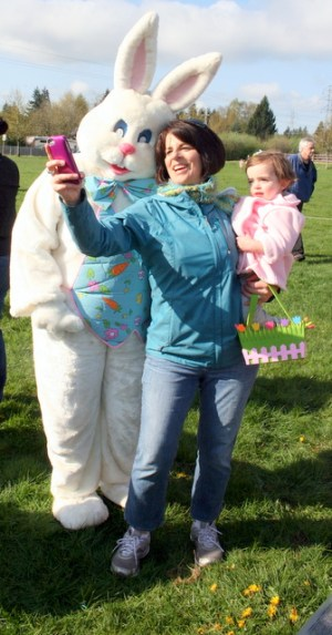 The Easter Bunny was popular with parents and children.