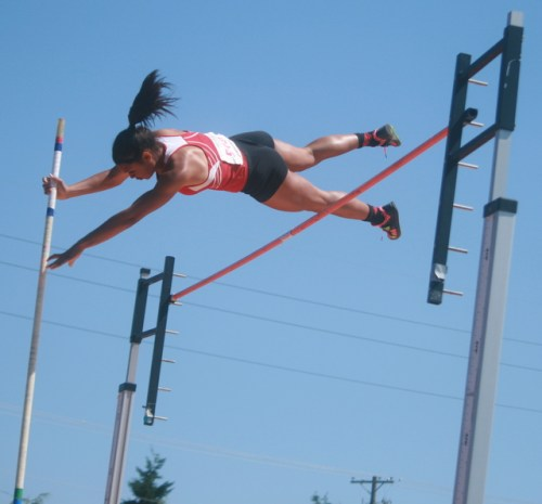 Mountlake Terrace's Chinne Okoronkwo won the 3A pole vault with a record of 13 feet, 3 inches. (Photos by David Pan)