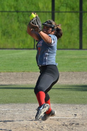 Mountlake Terrace Cassandra Cariker pitches against Everett in a 3A District 1 playoff game Tuesday at the Phil Johnson Ballfields in Everett. (Photos by Karl Swenson)