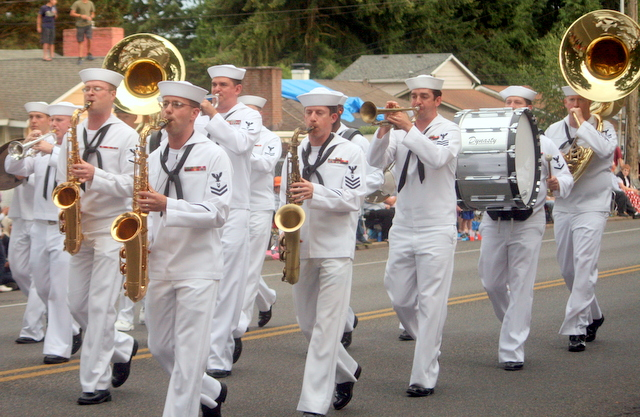 The U.S. Navy band marches in the Tour de Terrace Parade Friday evening. (Photos by David Pab)