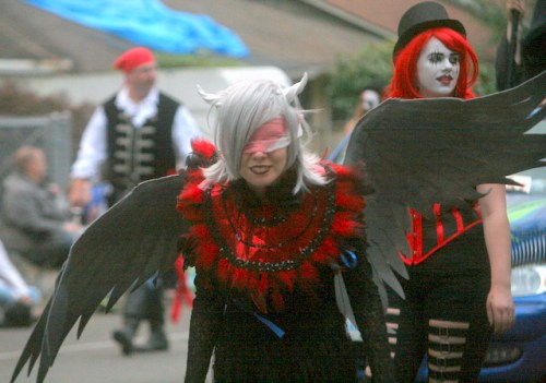 Performers from the Haunted Nightmare at the Nile marched in the parade.