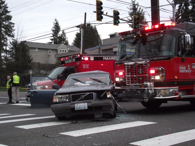 The crash at the intersection of 228th Street Southwest. and 44th Avenue West. (Photo by Doug Petrowski)
