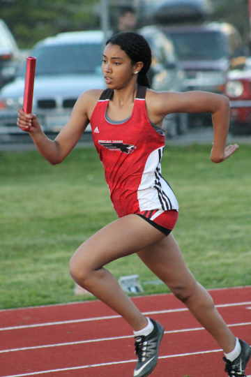 Mountlake Terrace's Samra Gebrehiwot runs the first leg of the Hawks' 4x400 girls relay Friday at Edmonds Stadium. The Hawks won the relay with a time of 4:11.81.