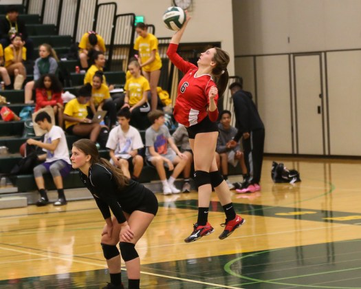 Karly Rismoen with a jump serve