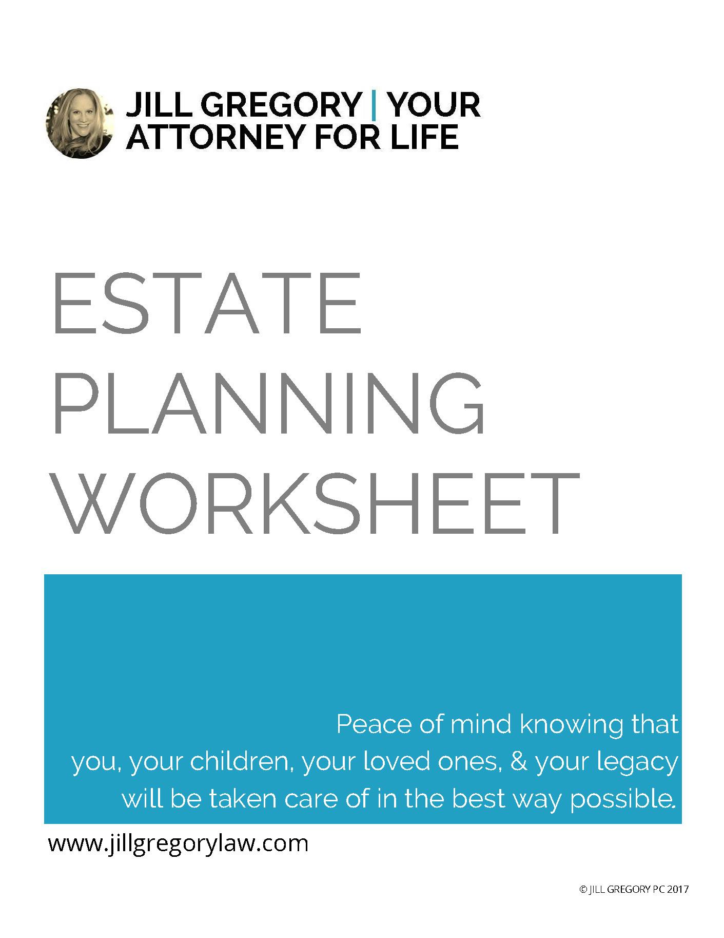Estate Planning Worksheet Cover Jill Gregory Esq