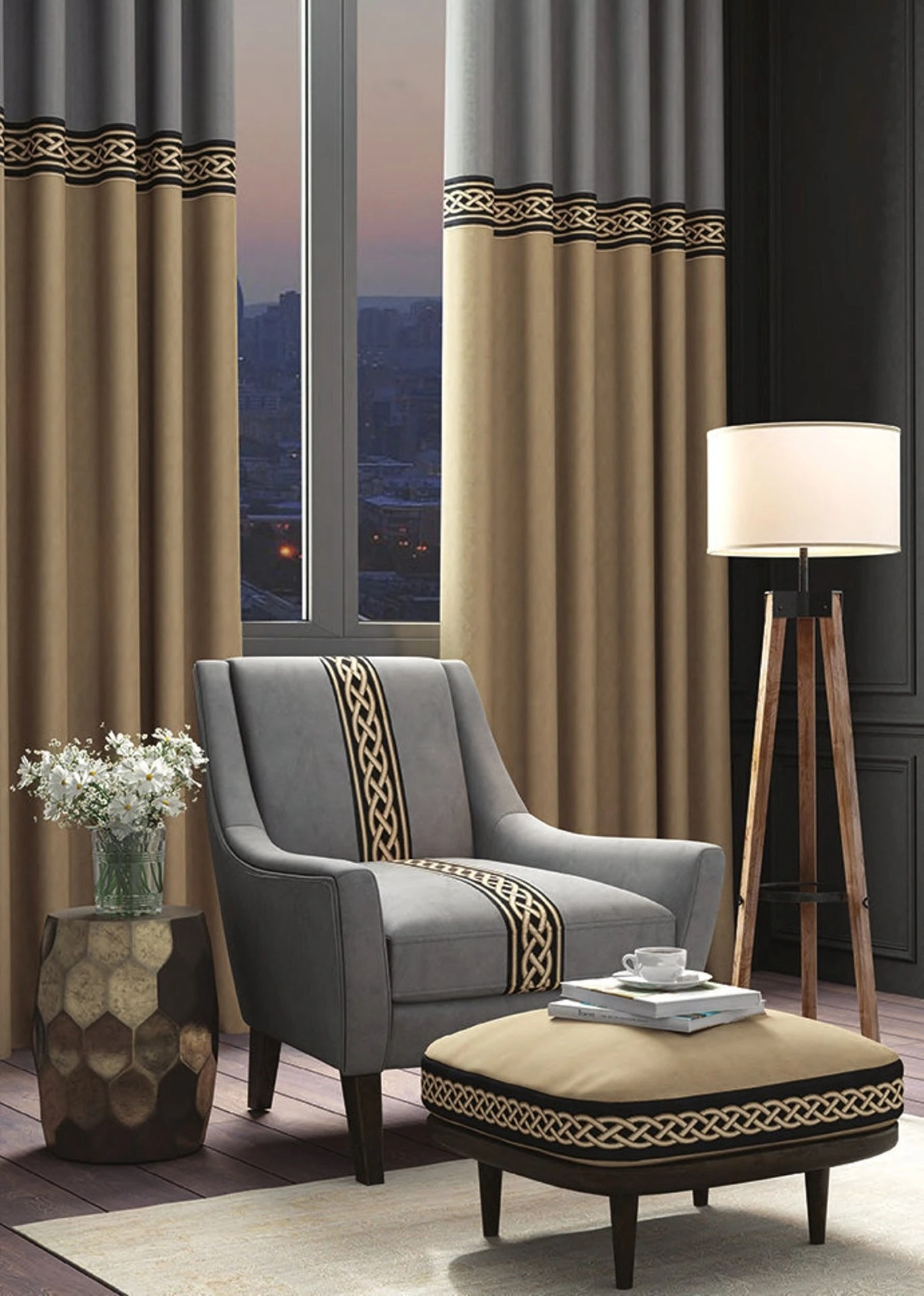 extra long velvet drapes 2 colors block curtain panels with trim style 10 for story window