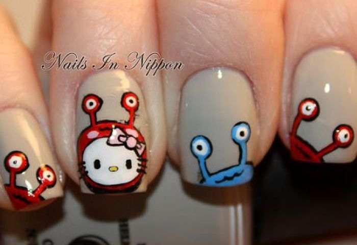 Uñas Decoradas De Hello Kitty Para Halloween