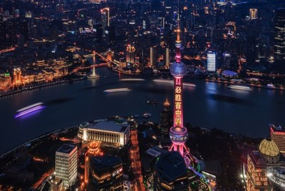 30th anniversary light show at Shanghai's Oriental Pearl Tower