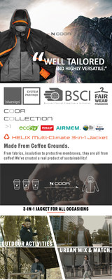 "Wake up and smell the coffee: COOR™ 3-in-1 outdoor jacket made from upcycled coffee grinds launches on Kickstarter. Designed to be everlasting, ""the last jacket you'll ever need"", combines leading performance technology with bio-based fabrics and multifunctional 3-in-1 design."