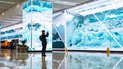 上海交通樞紐安裝1800平方米艾比森LED顯示屏