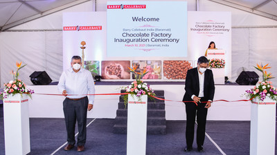 (From left to right) Amol Nayak, Plant Manager for Barry Callebaut India, and Dhruva Jyoti Sanyal, Managing Director for Barry Callebaut India, officiating the chocolate factory's opening, which marks an important step forward in advancing its business across more regions of India.