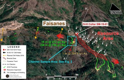 Figure 1: San Marcial Project – Location of High-Grade Au + Ag at Faisanes Target (CNW Group/Goldplay Exploration Ltd)