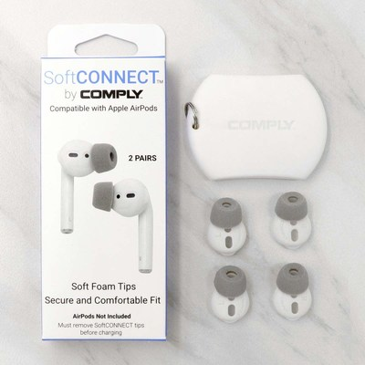 SoftCONNECT box includes 2 pairs of foam tips with integrated silicone sleeve and 1 storage pouch