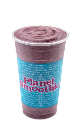 The Almond Berry Blast smoothie is blended with almond butter, blueberries, strawberries, bananas, whole grain oats, and vanilla