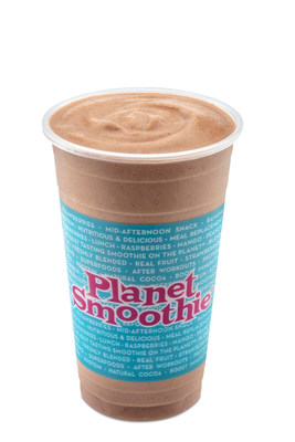 The Muscle Up Buttercup smoothie is blended with almond butter, cocoa, bananas, nonfat frozen yogurt, vanilla, whey protein, with a dash of sea salt