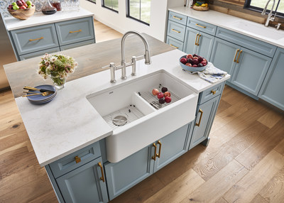 blanco introduces new ikon 33 1 3 4 farmhouse sink with low divide