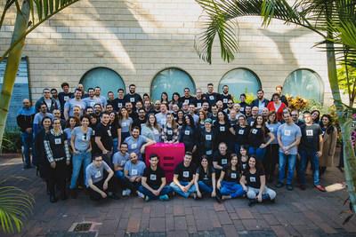 The Elementor team posing at their headquarters near Tel Aviv. (PRNewsfoto/Elementor)