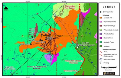 Figure 2:  Drill Hole Collar Locations and Geology – Mineralized Structures (Plomosas Mine Area) (CNW Group/GR Silver Mining Ltd.)