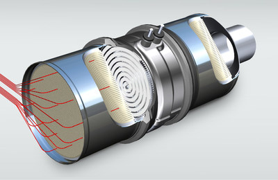 The electrically heated catalytic converter from BENTELER (shown in the picture) consists of a stacked metal structure. It is welded into the exhaust system between the turbocharger and the conventional catalytic converter.